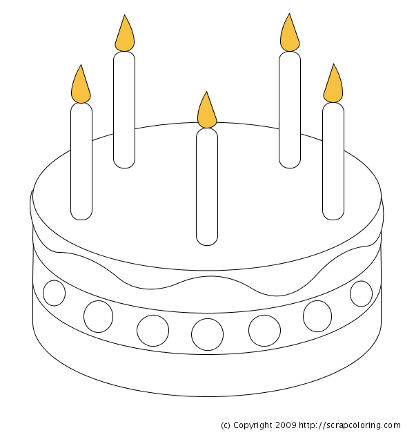 free coloring pages of blank birthday cake