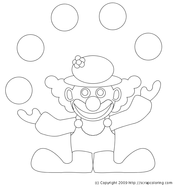 juggling clown coloring page clown