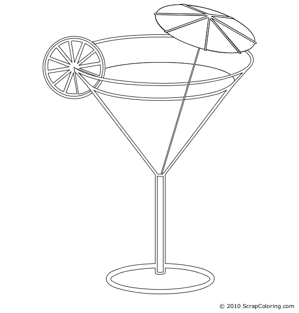 Cocktail coloring page. Cocktail