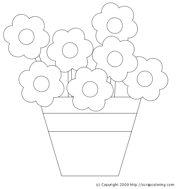 flowers in pot coloring page - Kids Coloring Pages Flowers
