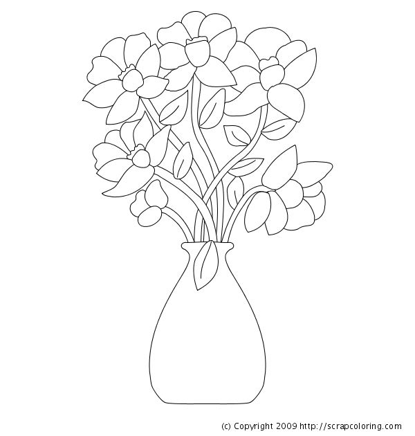 flower vase coloring page. Flowers in Vase coloring page