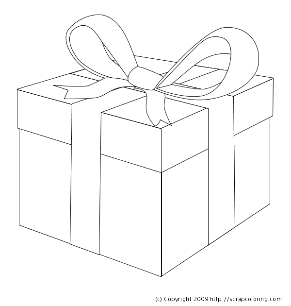 Gift Wrapped Present Coloring Page
