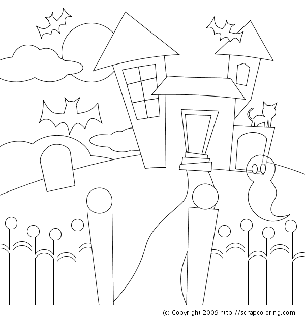 haunted house coloring page haunted house