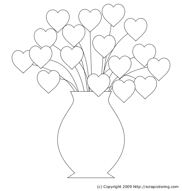 this printable teddy with big heart can be used as a coloring page, Hearts Bouquet coloring page