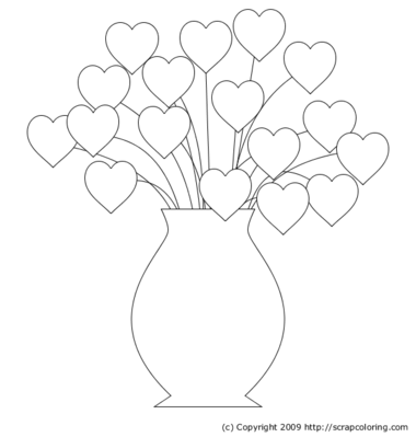 flower vase coloring page. Hearts Bouquet Flowers in Vase coloring page