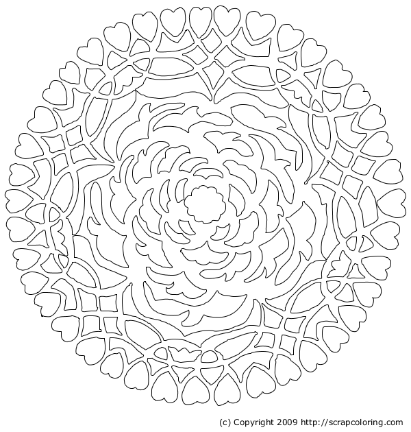 coloring pages hearts roses - Coloring Pages Hearts Roses