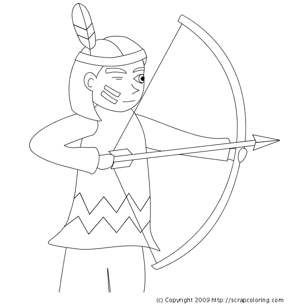 Indian With Bow And Arrows Coloring Page