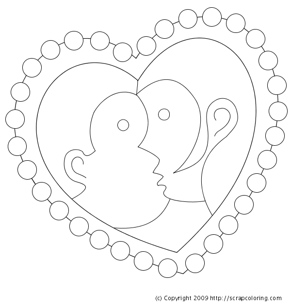 Kiss Heart-shaped Stamp coloring page