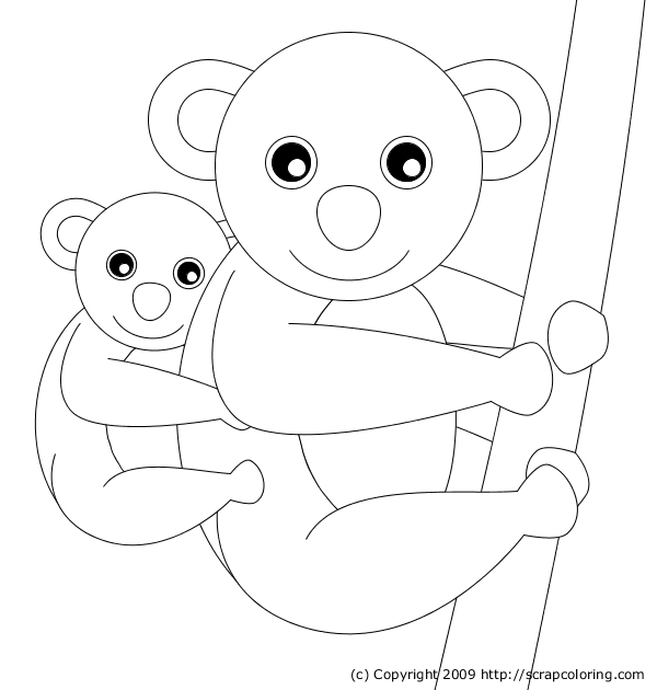 Mom and baby koala coloring page for Koala coloring pages