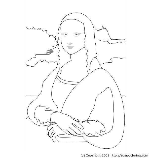 Mona Lisa Leonardo da Vinci coloring page