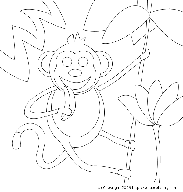 monkey in jungle eating a banana coloring page
