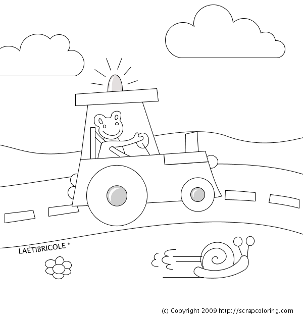Tractor on the Road coloring page