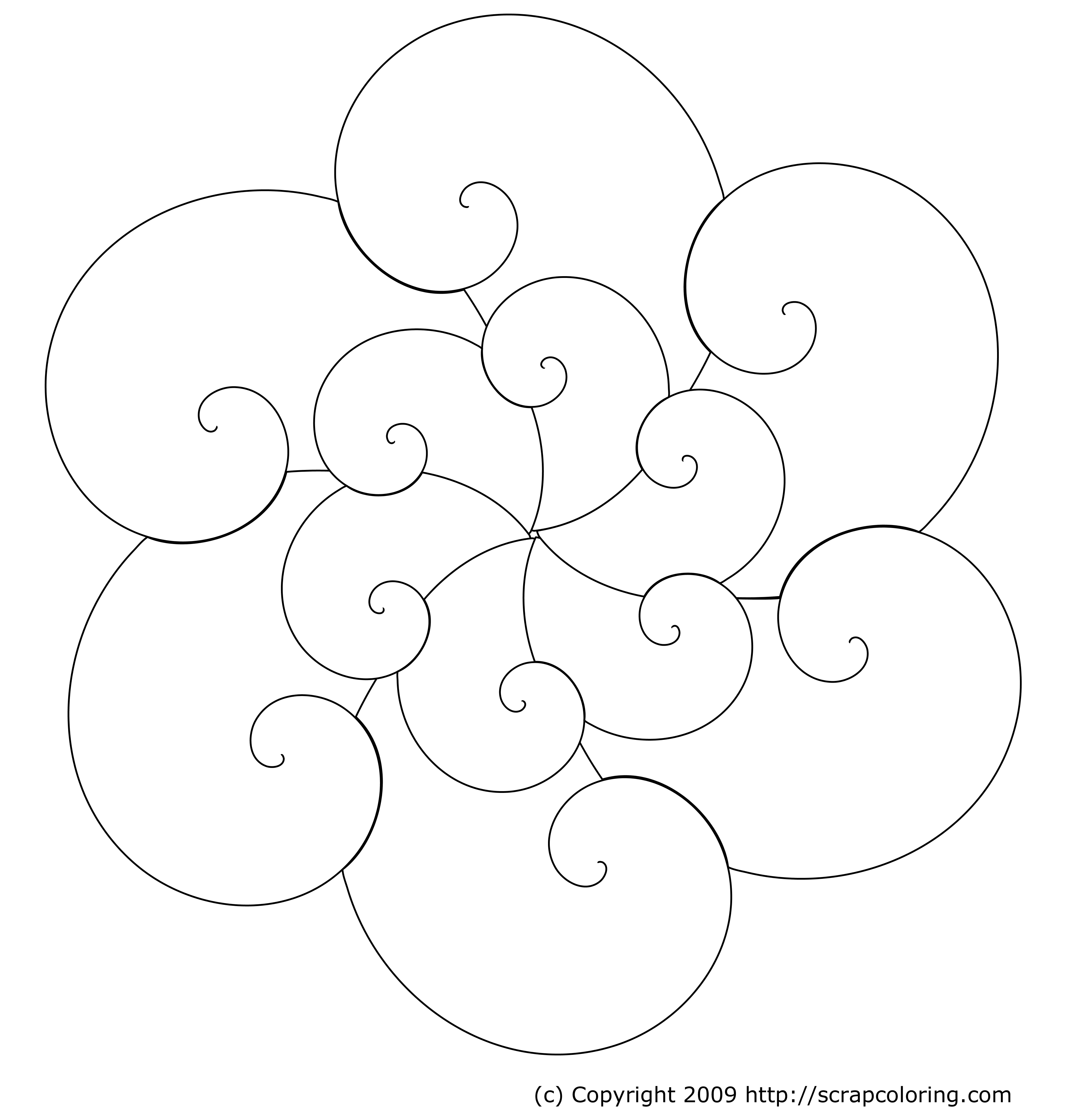 waves rose window coloring page